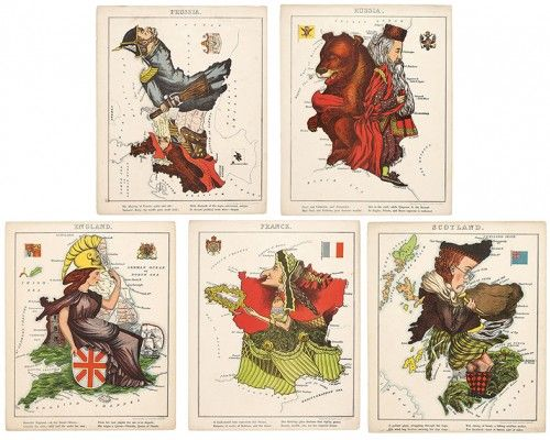 Geographical Fun being humourous outlines of various countries - 12 mounted caricature #maps by William Harvey, c. 1868.