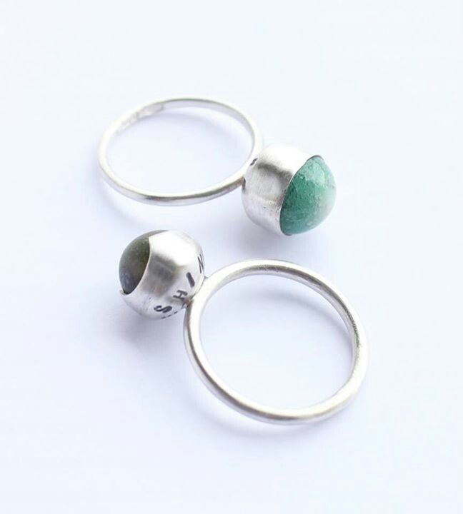 """Top: """"Shine for Me"""", green porcelain gem, plain bezel cup setting, 100% recycled silver. Below: """"Shine for Me"""", matt green porcelain gem, fancy bezel cup setting, 100% recycled silver. Liv Thrane Jewellery. www.facebook.com/livthranejewellery & www.livthrane.com"""