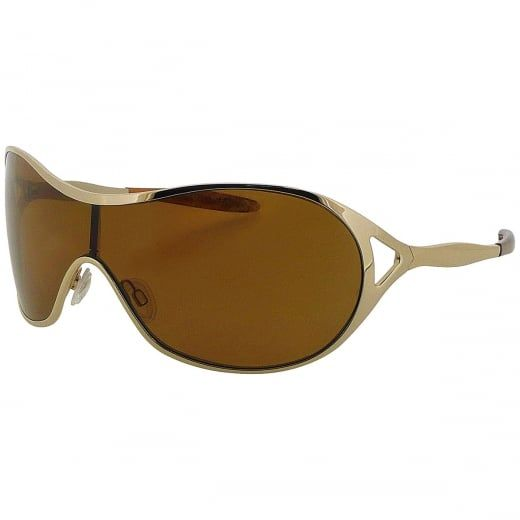 """Oakley Ladies """"Deception"""" Gold Wraparound Sunglasses With Polarised Lenses. Model Number: OO4039 06. Oakley """"Deception"""" sunglasses combine a full rimmed gold tone frame with a wraparound style for ultimate protection and uncompromising performance."""