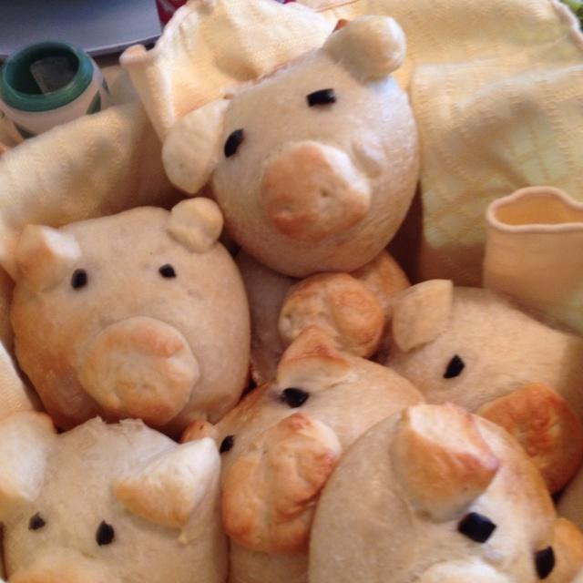 Piggy rolls made with Rhodes roll dough