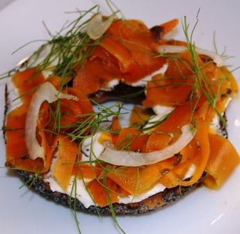 Faux Lox – Vegan Smoked Salmon. This has the texture and taste of actual smoked salmon. Ingredients 2 Carrots 2 Tbsp. Miso Paste 1 Tsp. Liquid Smoke 2 cloves Garlic 3 cups Water 1 Sheet Nori