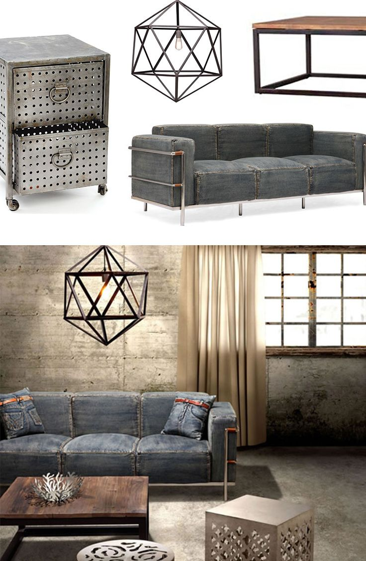 Industrial Chic Furniture & Decor | dotandbo.com. Couch- Ew! Chandelier- AMAZING!