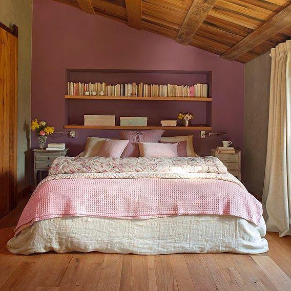 dormitor rustic in roz deschis