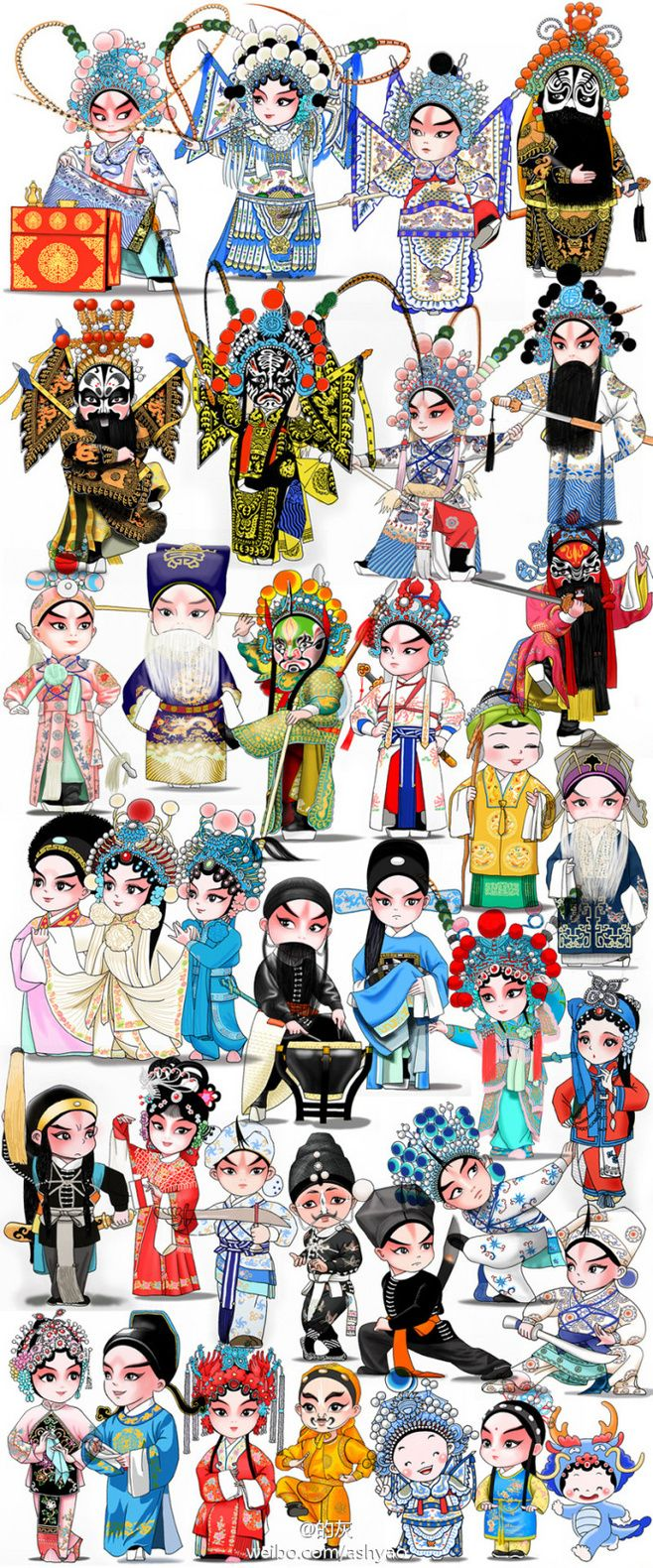 Beijing opera,peking opera, chinese traditional culture, fantastic art, Cute cartoon characters.