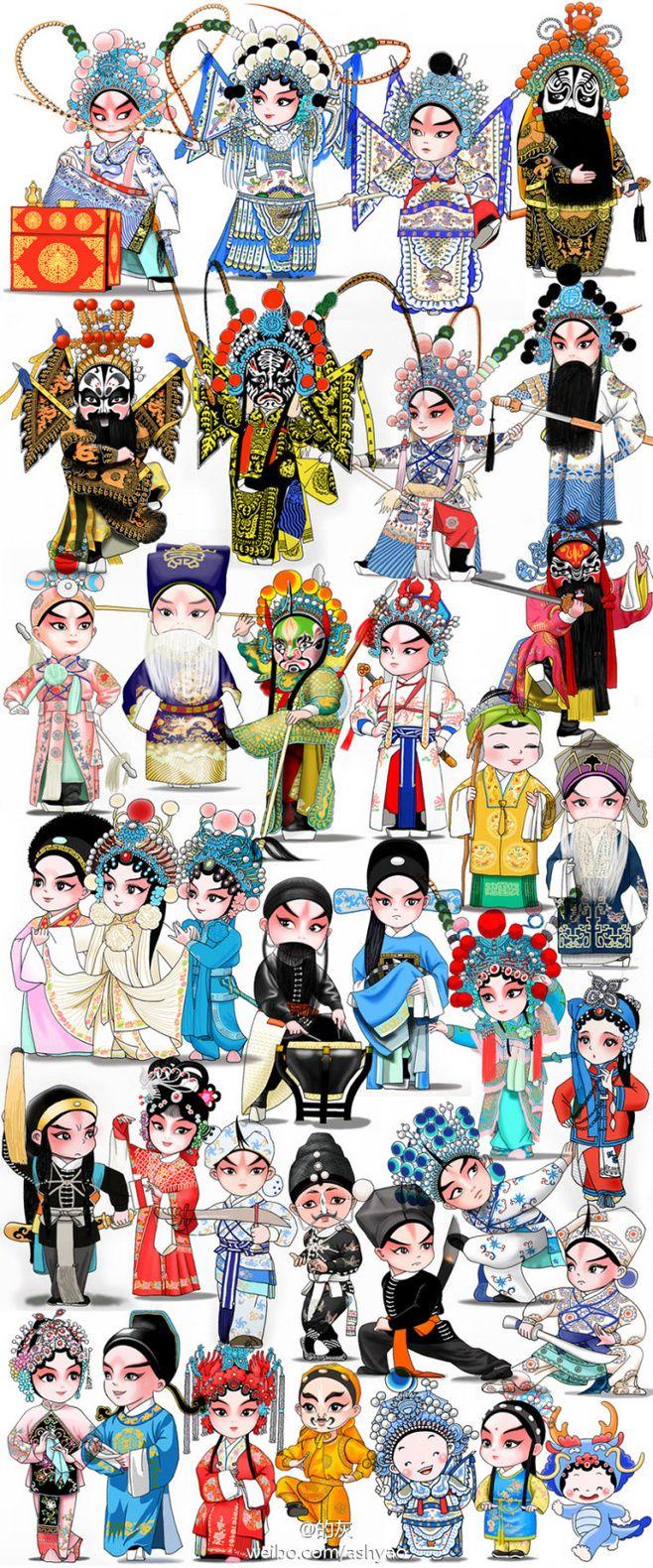 Beijing opera,peking opera, chinese traditional culture, fantastic art, Cute cartoon characters.