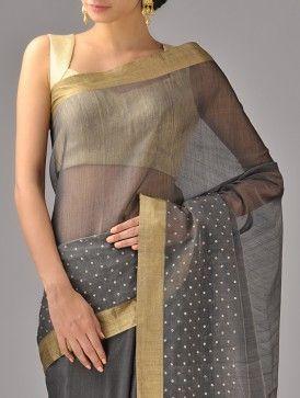 Black Zari Chanderi Silk Saree
