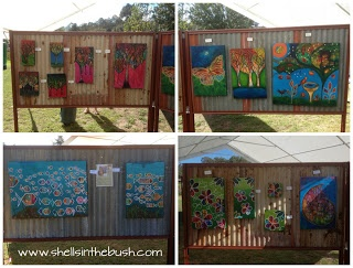 Corrugated iron display boards look great - Michelle Reynolds.