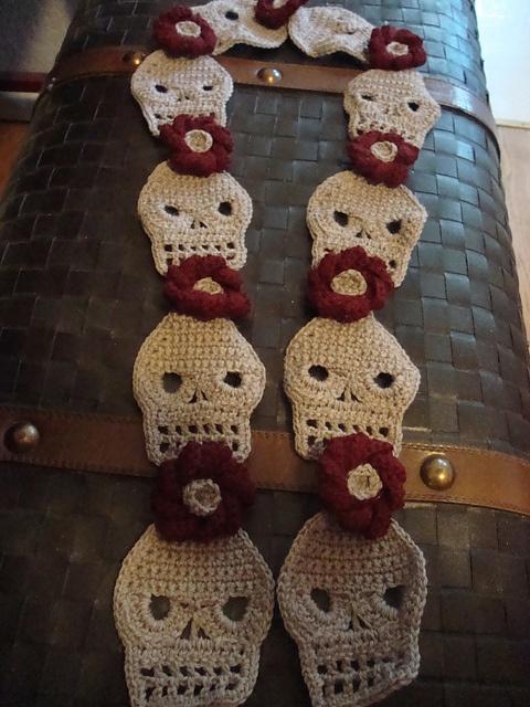 Crochet Pattern Skull Scarf : Cute Crochet Skull Scarf pattern by Kara York