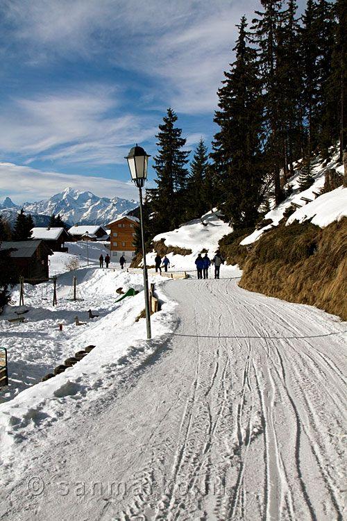 The winter walking path from Riederalp to Bettmeralp near the Aletsch glacier in Valais in Switzerland