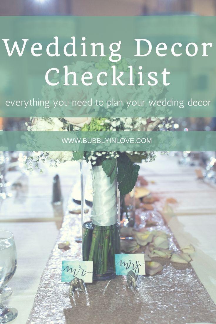 Wedding Decor Checklist Everything You Need To Plan Your Wedding