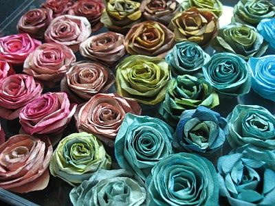 Gorgeous COFFEE FILTER roses.. I always thought  coffee stained filters looked like flowers!