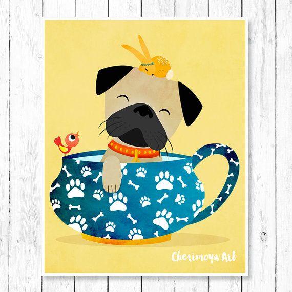 Pug Art Pug Dog Art Print Dog Artwork Pug Wall Art by CherimoyaArt