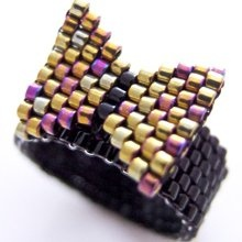 Gold Bow Ring, Beaded Bow Ring, Black Ring, Beaded Bow Tie, Beaded ...