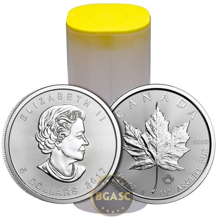 2017 1 oz Canadian Silver Maple Leaf Unopened 25-Coin Roll .9999 Fine BU