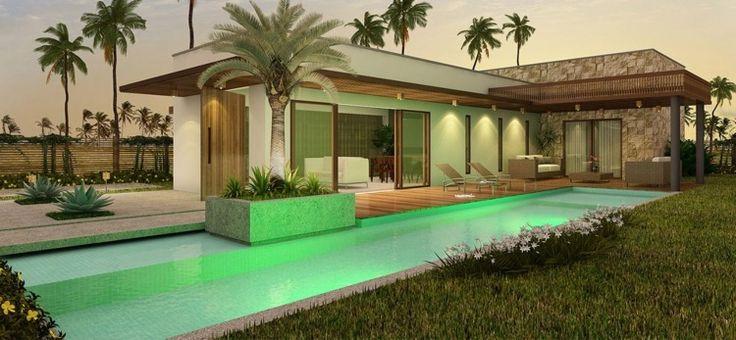 aménagement de piscine décorée avec des palmiers