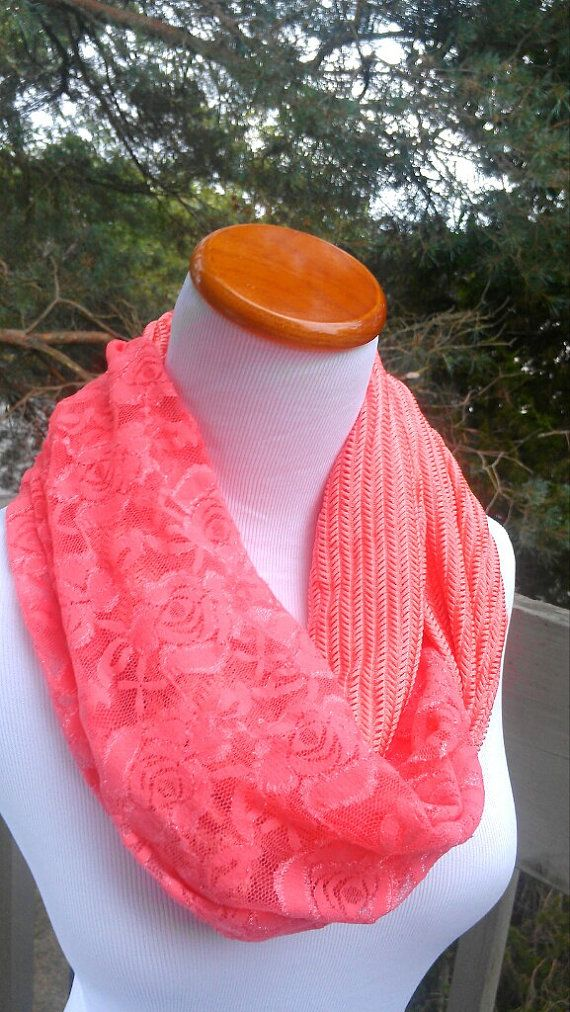 Coral Lace Infinity scarf, fashion accessory I love this!!!!!