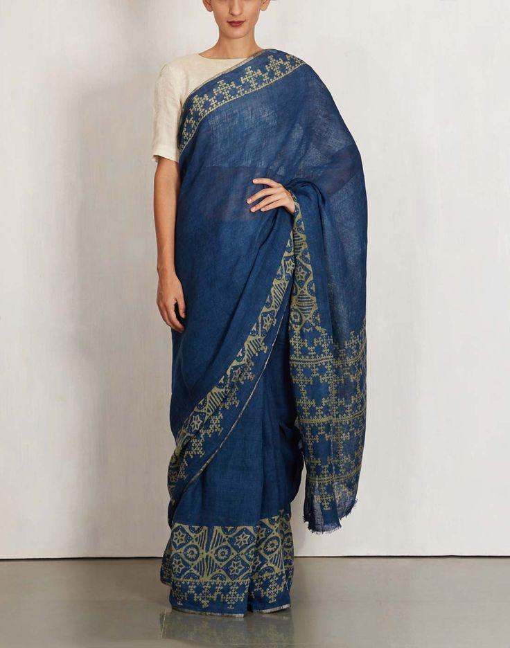Anavila Saree | Contemporaray Saree Design | Traditional Weave Saree | Indigo Batik Saree by Anavila | Wedding Trousseau | Saree Pact | Casual Saree