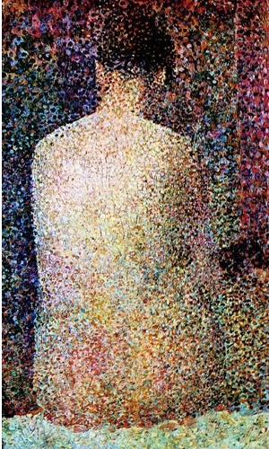 포즈를 취한 여인들-Georges Seurat(조르주 쇠라) (1886-1887) 대작인 그랑드 자트 섬의 일요일 오후를 그린 프랑스 출신 신인상주의 화가이다. 청색과 심홍색의 대비, 그리고 보색 관계를 이용한 생기 있는 색채 효과와 시각적 혼합에 의한 중화된 색채의 화음이 돋보인다. 수많은 점들이 모여 한 여인의 등모습으로 보인다는 점이 굉장히 신비롭다.