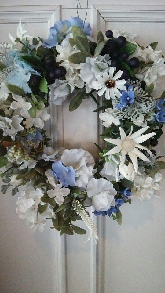夏のホワイトブルー爽やかリース | 柴犬と花のフラワーマリーヌアートサロン