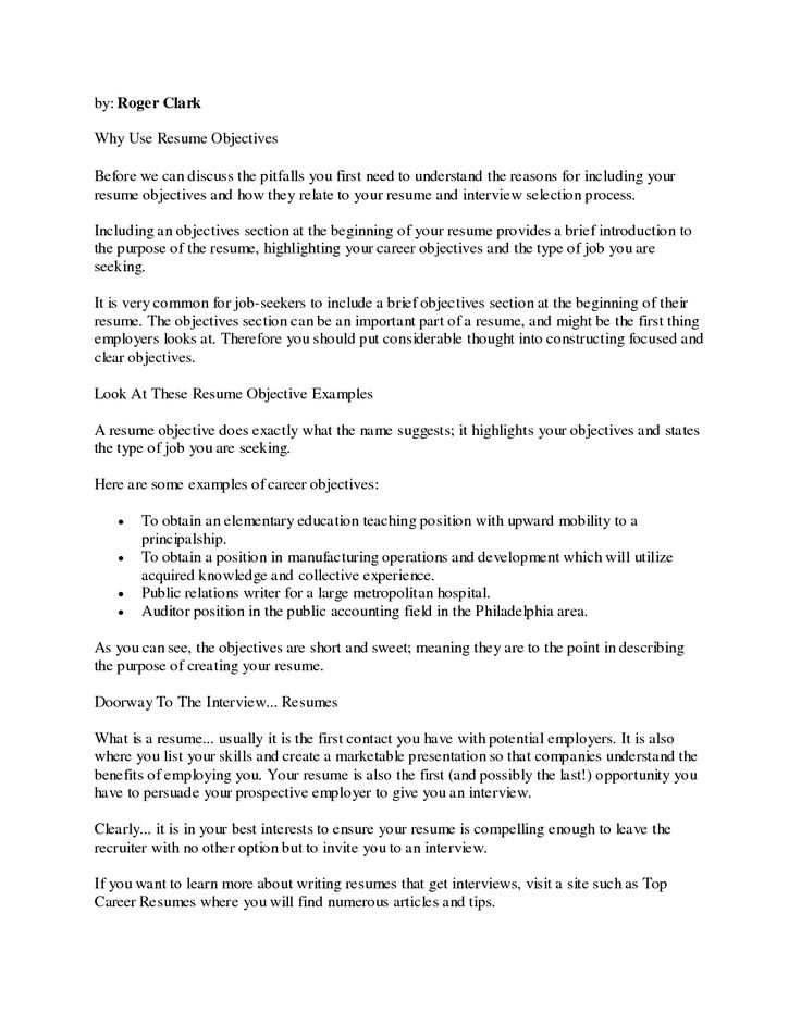 resume objective examples httpwwwresumecareerinforesume - Samples Of Resumes Objectives