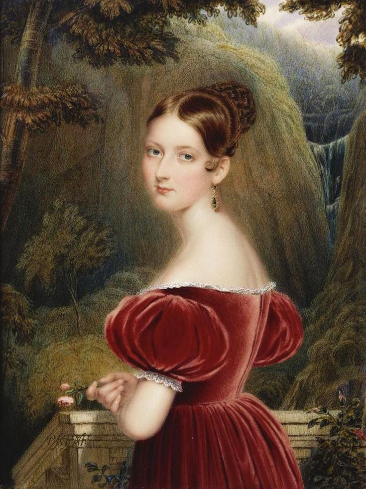 Only child of Prince Edward Augustus Duke of Kent & Strathearn (1767–1820) & Princess Victoria (Marie Luise Viktoria) (1786–1861) of Saxe-Coburg & wife of 1st cousin Prince Albert of Saxe Coburg and Gotha (1819-1861). Queen Victoria (Alexandrina Victoria) (1819-1901) when Princess Victoria By Henry Collen 1836.