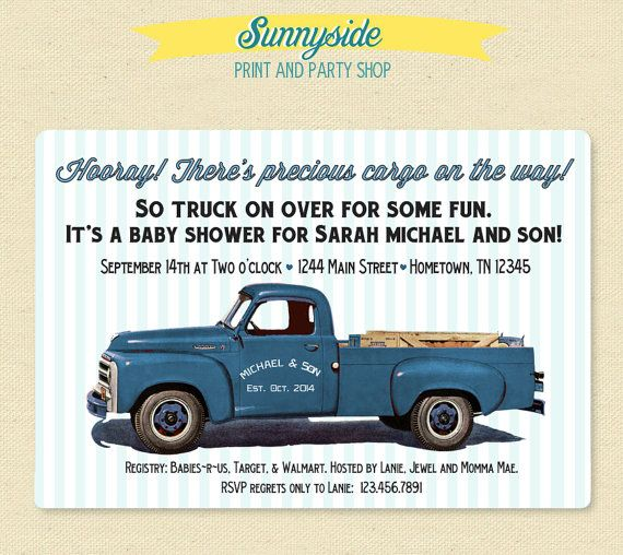 Hey, I found this really awesome Etsy listing at https://www.etsy.com/listing/173661600/pickup-truck-retro-baby-shower-invite