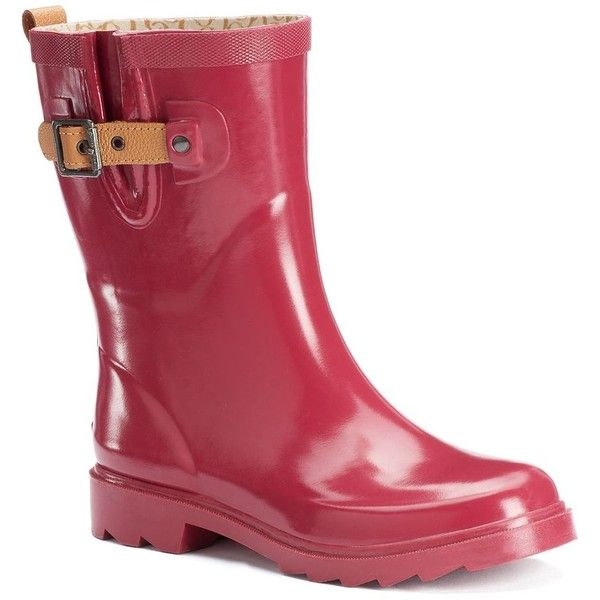 Chooka Solid Women's Waterproof Rain Boots ($55) ❤ liked on Polyvore featuring shoes, boots, dark red, waterproof rubber boots, round toe boots, shearling-lined boots, chooka boots and rubber boots