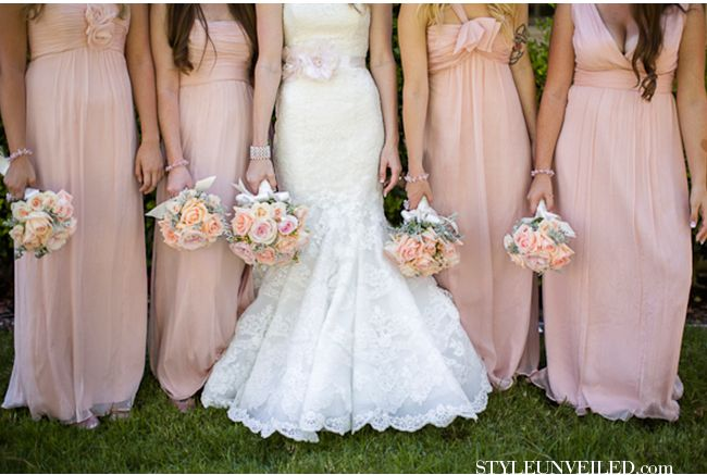 Long Light Pink Bridesmaid Dresses and White Lace Bridal Gown. I ...