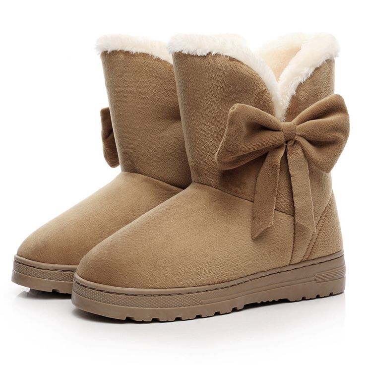 2016 NEW Women Boots Warm Winter Snow Boots Suede Ankle Boots Female Bowtie Thick Plush Inside Shoes Botas Mujer