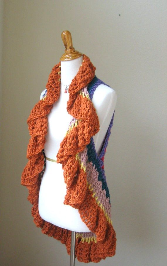 mom..  what do u thing.. but in one color? MULTICOLOR Boho CROCHET VEST Spring Summer / Fall by marianavail,