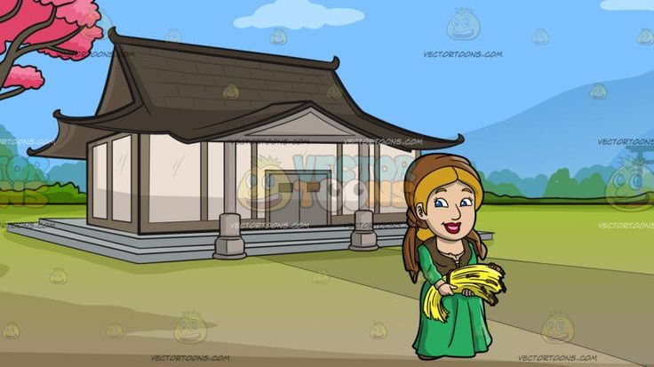 A Happy Saxon Woman Harvesting Wheat At A Traditional Japanese House:  A woman with dark blonde hair wearing a brown headdress green and brown medieval dress smiles while carrying a bundle of harvested golden wheat. Set in a beautiful japanese house with white and beige walls dark gray roofing entrance columns gray doors built on a two tier platform in the middle of a simple garden with green grass and pink cherry blossom trees overlooking a view of a mountain range and a shinto arch.
