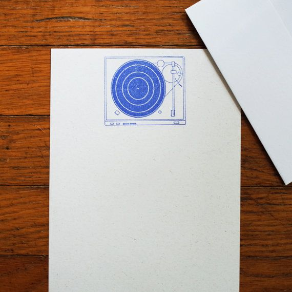 Record Player stationery set music letter by blackbirdandpeacock