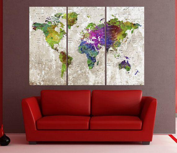 Push Pin World Map Wall Art Canvas, Wall Art Print, Travel Map Wall Decor  Art Print, Abstract Map Push Pin, Extra Large Wall Art