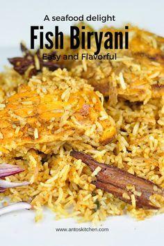 Fish biryani is an easy and flavorful biryani recipe with Salmon, Coconut milk, and Spices. #antoskitchen #fish #biryani