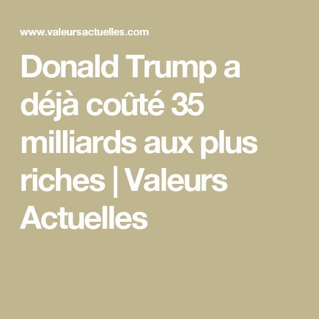 Donald Trump a déjà coûté 35 milliards aux plus riches   Valeurs Actuelles
