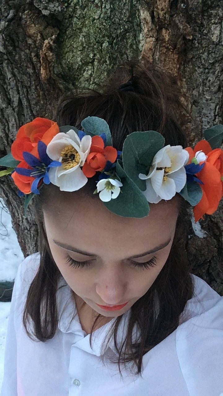Summer Heritage Handmade Flower Crown  #accessories #hair #orange #blue #white #leaves #florals #flowers #summeraccessory  https://www.etsy.com/ca/shop/TheLittleSeaShop