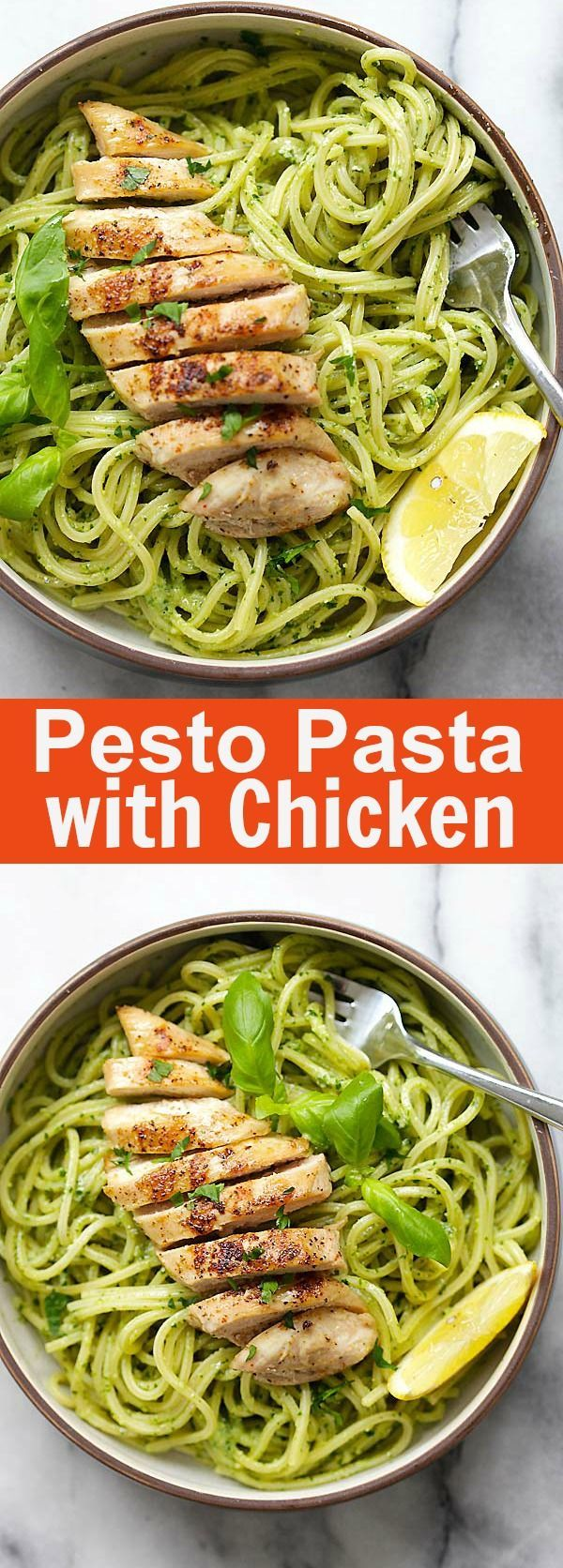 Pesto Pasta with Chicken – easy pasta with basil pesto and grilled chicken. Loaded with yogurt and Parmesan cheese, this recipe is so delicious | rasamalaysia.com