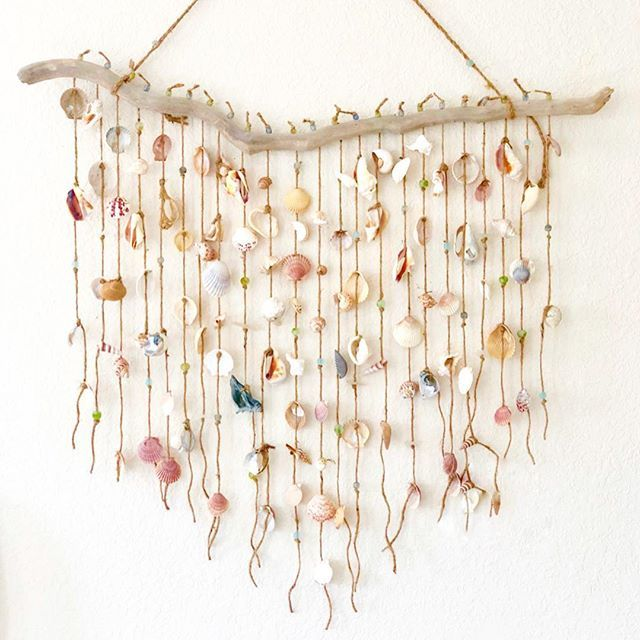 Such A Beautiful Shell Wall Hanging With Images Wall Hanging Diy Hanging Wall Art Beachy Room Decor