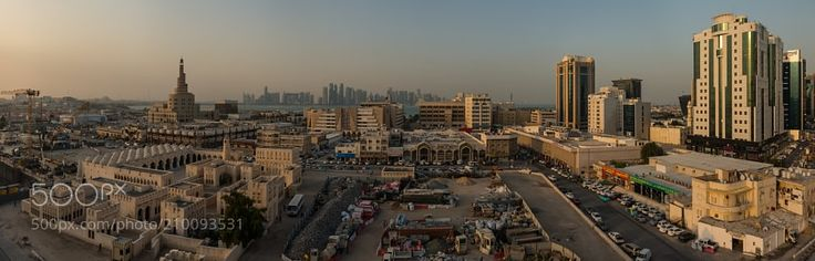 Doha Downtown - Qatar Doha Downtown. View across the old part of the city with Al Fanar (Qatar Islamic Culture Center) on the left side an some Souqs in front...  Panorama out of 6 single shots (landscape)