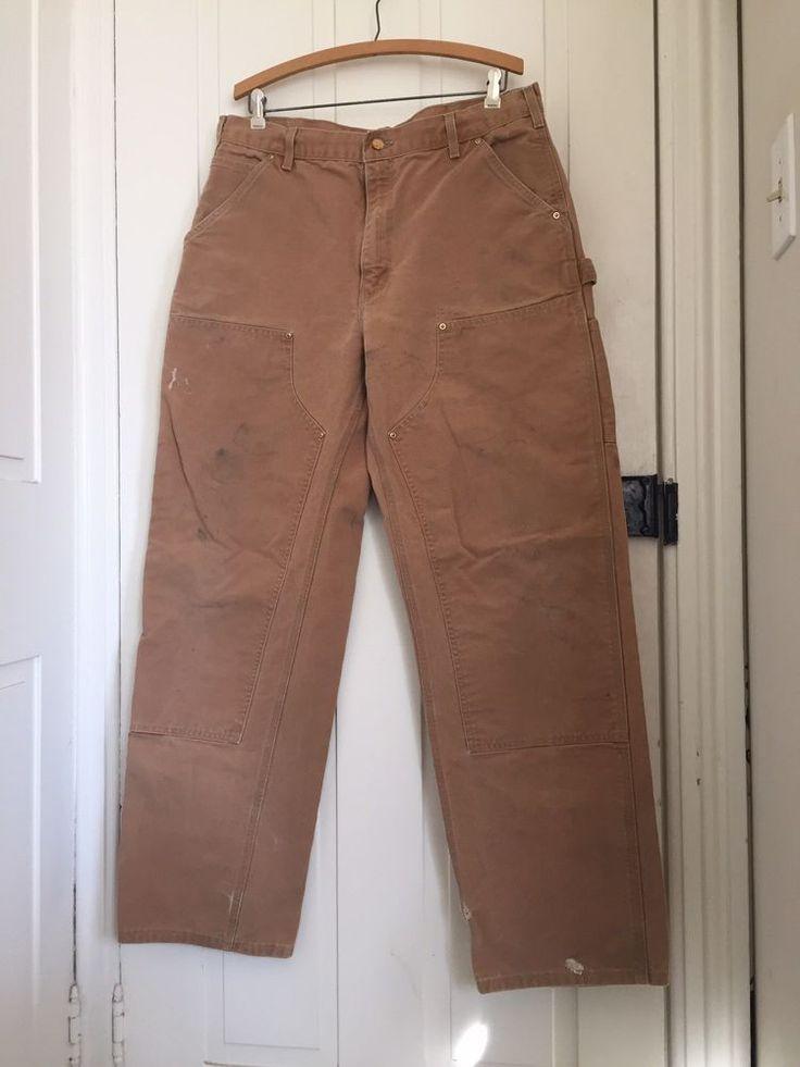 MEN'S CARHARTT CANVAS DOUBLE KNEE CARPENTER WORK PANTS TAN 34 x 34  | eBay