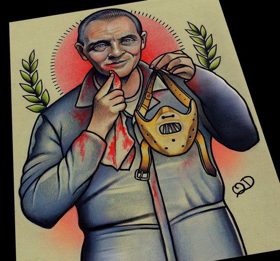Hannibal Lecter Art Print by ParlorTattooPrints on Etsy