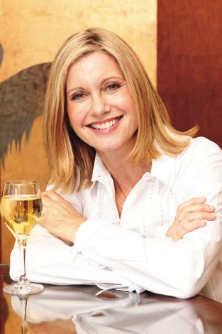 Olivia Newton John. She has her own wine too! Koala Blue Vineyards in Australia.