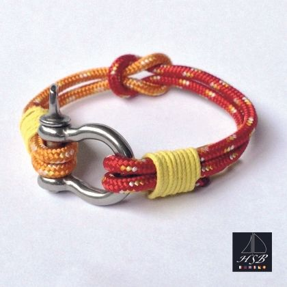 Red and orange paracord bracelet with yellow line and stainless steel shackle - 45 RON