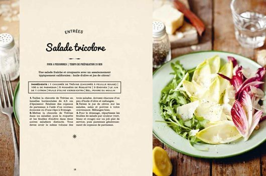 Recipe Book Design - photo is spliced with recipe inset. Clever use of portrait oriented photo on a landscape oriented page layout.