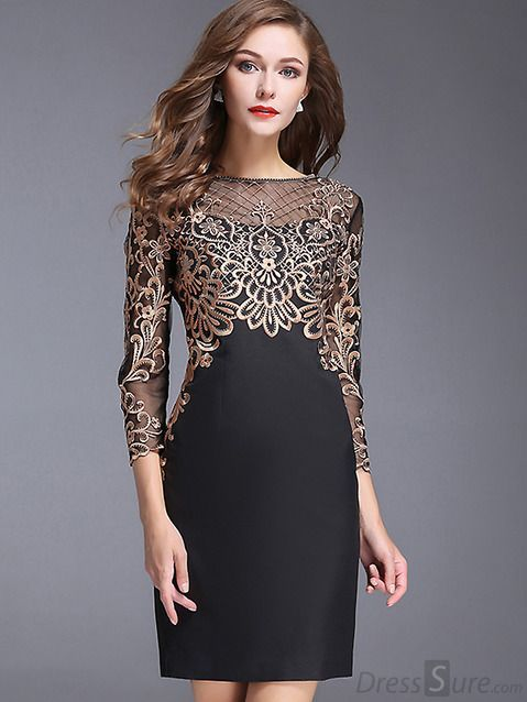 9b7b6dd7d396 Chic O-Neck Long Sleeve Lace Embroidery Bodycon Dress - DressSure ...