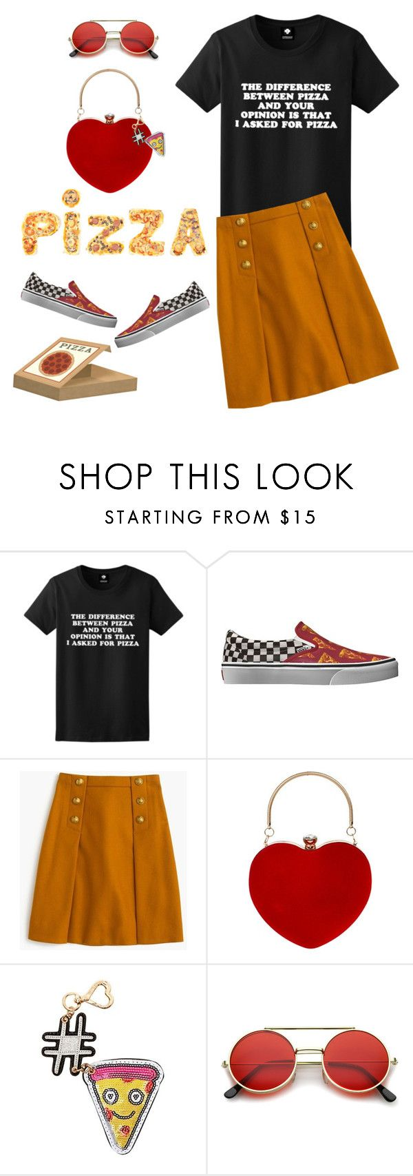 """""""Happy National Pizza Day!! 🍕"""" by musicfriend1 ❤ liked on Polyvore featuring Vans, J.Crew, Betsey Johnson, ZeroUV, lovethis, Tshirt, pizza and nationalpizzaday"""