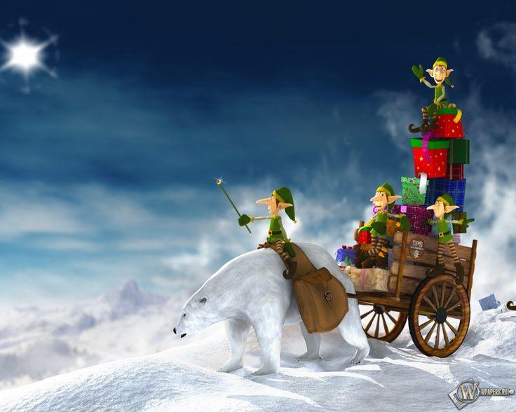 Обои, Рождественские подарки, Подарки, Рождество, Праздник, Эльфы, Гномы, 1920x1536, картинки
