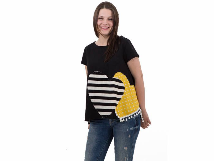 Black organic cotton top with hearts applique/ yellow and stripes hearts women top/ black summer top/ black women top/ gift for her/ blouse by PepperFashion on Etsy