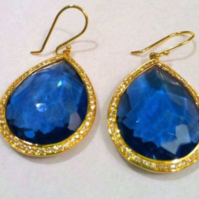 : Ippolita Beautiful, Blue Gold, Glam Repin By Pinterest, Jewelry, Jewels, Blue Earrings, Gold Glamour, Ippolita Earrings, Gold Earrings