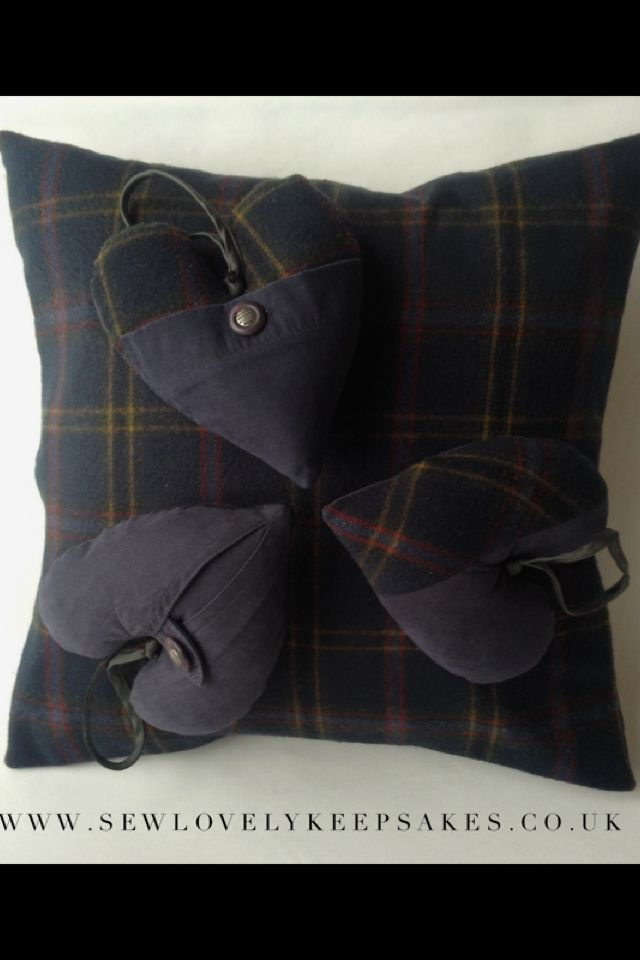 Memory cushion and hearts made from a loved ones special coat- Sew Lovely Keepsakes